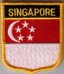 Singapore Embroidered Flag Patch, style 07.